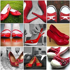 red shoes collage