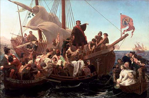 Christopher_ColumbuChristopher Columbus on Santa Maria in 1492: painting by Emanuel Leutze, 1855